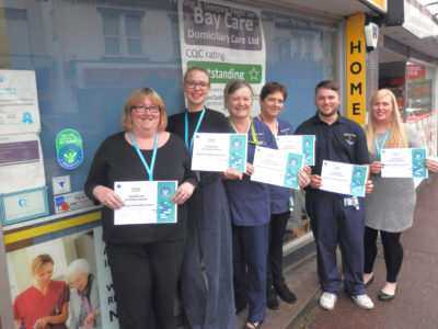Bay Care Group's Kate Taylor, Administrator; Jenna Brittan, Recruitment Officer; Care Workers Sally Potter, Deborah Parker & Jack Read; and Compliance Officer Shelley White.